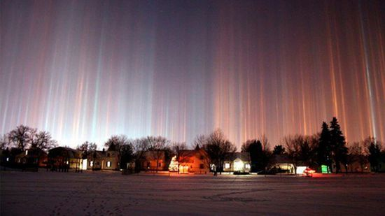 Strange Light Pillars over Moscow