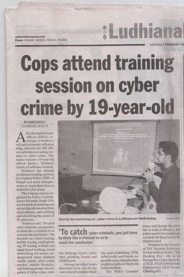 A news paper cutout on Trishnet