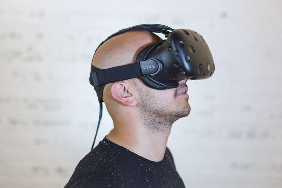 person wearing vr
