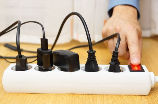 turn off or unplug electrical devices that emit light