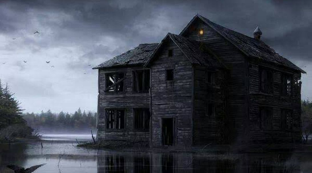 Dilapidated lake house